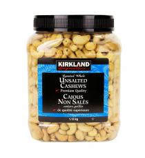 Kirkland Signature Roasted Whole Unsalted Cashews, 1.13 kg