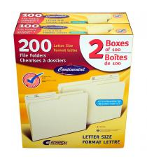 Continental Manila Letter-size File Folders 2 packs of 100