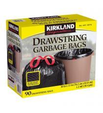 Kirkland Signature Sacs à ordures avec cordonnets, Paquet de 90