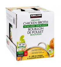 Kirkland Signature Organic Chicken Broth 6 × 946 ml