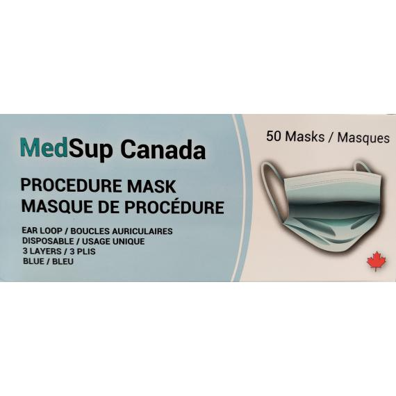 MedSup Canada Procedure Mask, Ear loop, Disposable, 3 Layers, Blue, 50 masks