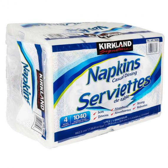 Kirkland Signature 1-ply Napkins, 4 packs of 260