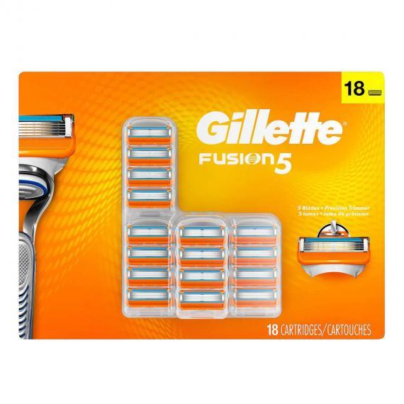 Gillette Fusion Manual Cartridges, 5 blades, Pack of 18 cartridges