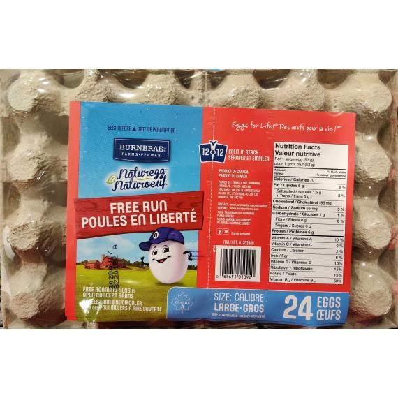 Burnbrae Farms - Large Free-run Eggs, Pack of 24