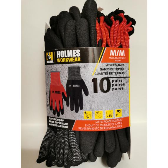 Holmes Workwear Gloves, Medium M, 10 pairs