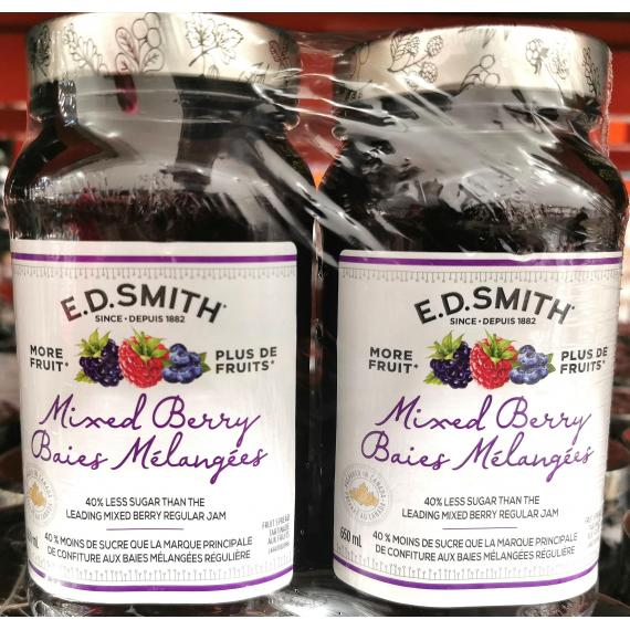E.D.Smith Mixed Berry Jam, 2 × 650 ml