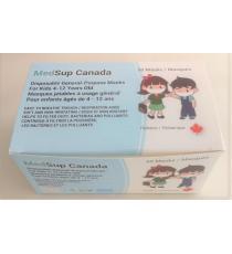 MedSup Canada, Masques jetables Bleu Pour Enfants âgés de 4-12 ans , 50 Masques