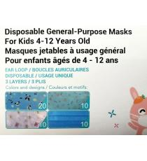 MedSup Canada, Disposable Masks with design for kids 4-12, 50 Masks