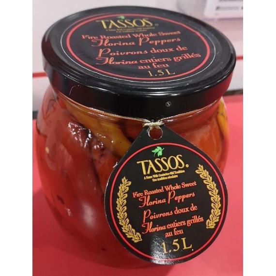 Tassos Fire Roasted Whole Sweet Florina Peppers - 1.5 L