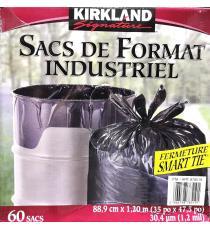 Kirkland Signature Smart Tie Industrial Garbage Bags, Pack of 60