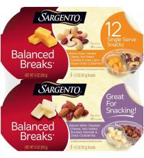 Sargento Balanced Breaks Protein & Fruit Snack Bowls, Variety, 1.5 oz, 12 bowls