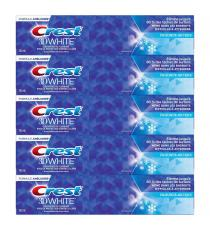 Crest 3D White Toothpaste, pack of 5 x 135 mL