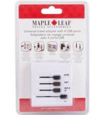 Adaptateur de voyage universel USB Maple Leaf, 4 ports