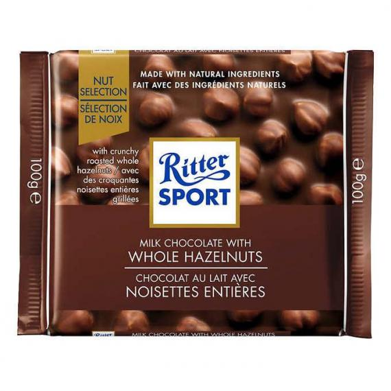 Ritter Sport Whole Hazelnut Chocolate Squares, 100 g