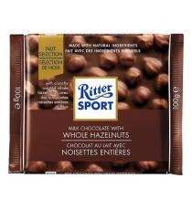 Ritter Sport - Tablettes de chocolat au lait avec noisettes entières ,10 × 100 g