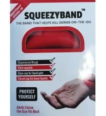 Squeezyband, Adjustable Wristband Hand Sanitizer Dispenser for Adults, Red