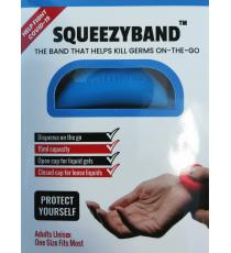 Squeezyband, Adjustable Wristband Hand Sanitizer Dispenser for Adults, Blue