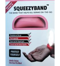 Squeezyband, Adjustable Wristband Hand Sanitizer Dispenser for Adults, Pink