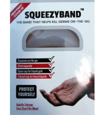 Squeezyband, Adjustable Wristband Hand Sanitizer Dispenser for Adults, Transparent