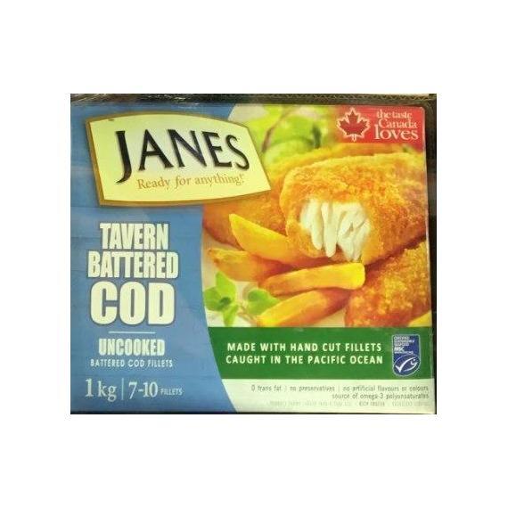 Janes, Tavern Battered COD, Uncooked, 1 kg - 7~10 Fillets