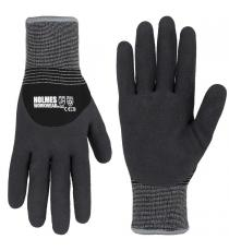 Holmes Workwear Gloves, winter gloves with latex coating, 3 pairs - Medium and Large