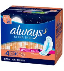 Always Ultra Thin Overnight Pads, Paquet de 2 de 38