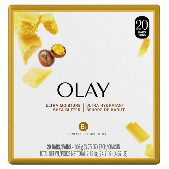 Olay Ultra Moisture Shea Butter Beauty Bar Soap, 20 × 106 g