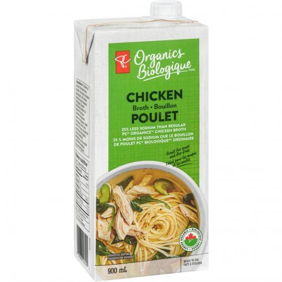 PC ORGANICS Chicken Broth Reduced Sodium, 900 mL
