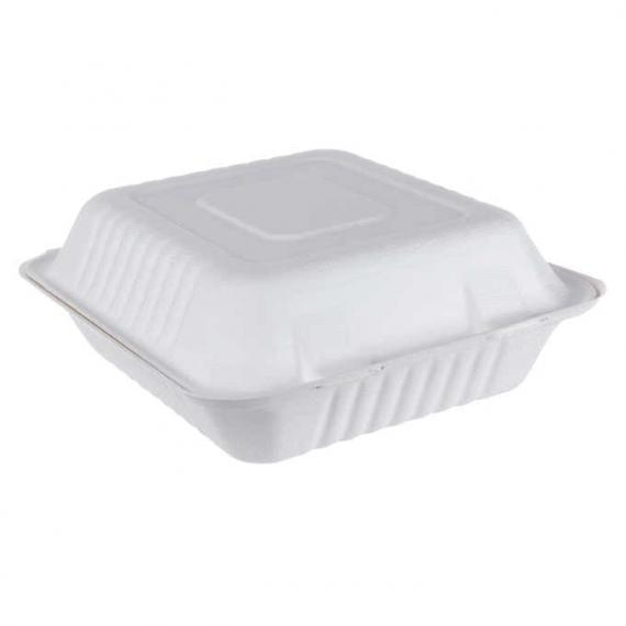 iEco Hinged Bagasse Container, 8 in × 8 in, 2 packs of 50