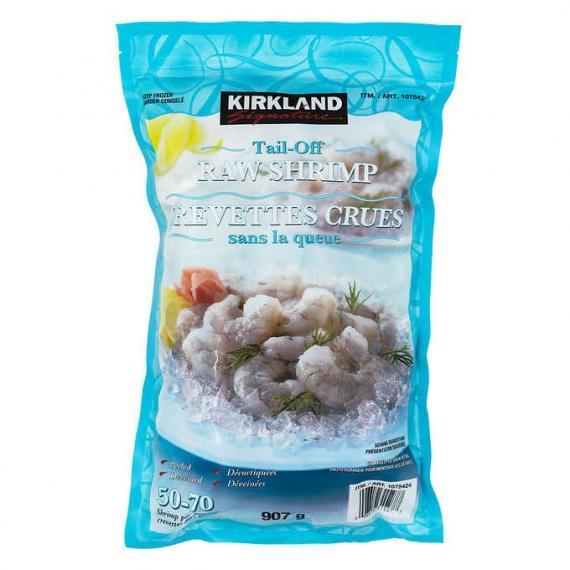 Kirkland Signature Frozen Chemical-free 50/70 Tail-off Raw Shrimp 907 g