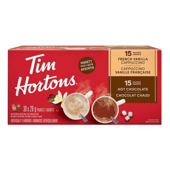 Tim Hortons Hot Chocolate and French Vanilla Cappuccino Variety Pack, 30-count