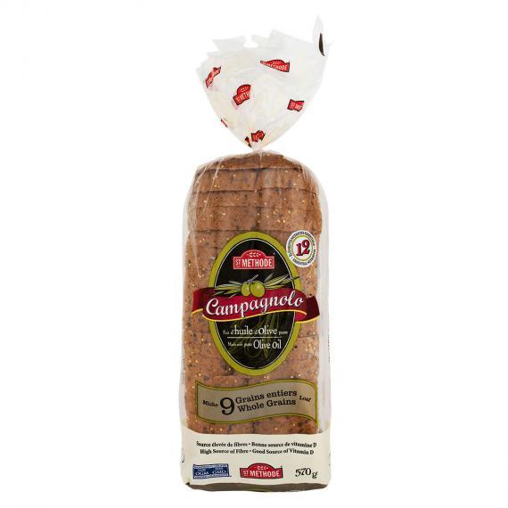 Boulangerie St-Methode Campagnolo 9 Grains Entiers Pain de mie, 2 packs x 570 g
