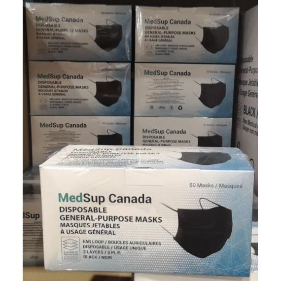 MedSup Canada Masque de Procédure, Boucles Auriculaires, Usage Unique, 3 Plis, Bleu, 50 Masques