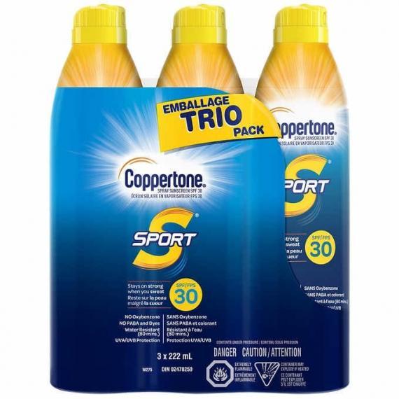 Coppertone Sport SPF 30 Trio Pack, 3 x 222 mL