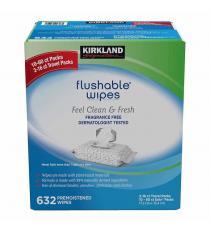 Kirkland Signature Moist Flushable Wipes, 10-packs of 60 Plus Two Travel Packs