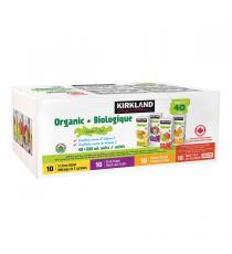Kirkland Signature - Jus de fruit biologique, Saveurs assorties, 40 × 200 ml