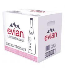 Evian Natural Spring Water 12 × 750 mL (glass bottle)
