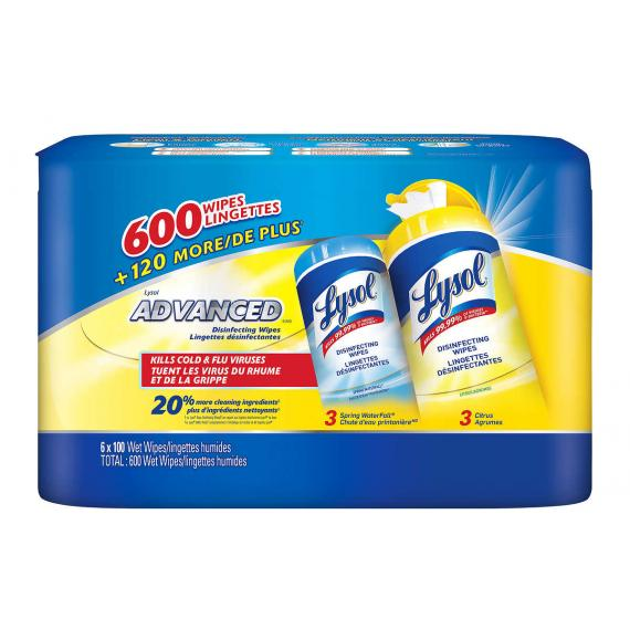 Lysol Disinfectant Cloths, 6 packs, 600 wipes