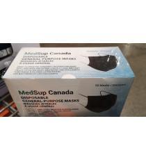 MedSup Canada Boucles Auriculaires, Letables, 3 Plis, Noir, 50 Masques