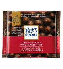 Ritter Sport Dark Whole Hazelnuts Chocolate Squares, 10 × 100 g