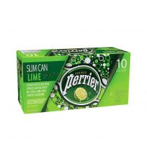 Perrier Lime Carbonated Water Slim Cans, 3 packs of 10 × 250 mL