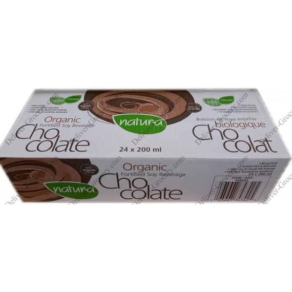 Natur-a Organic Chocolate Fortified Soy Beverage 24 x 200 ml