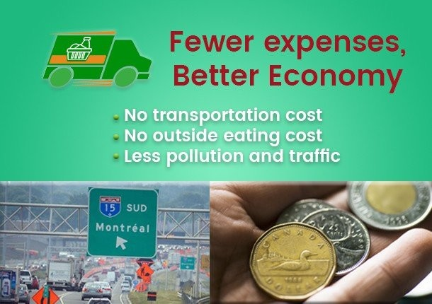 Fewer expenses, Better Economy - No transportation cost No outside eating cost Less pollution and traffic